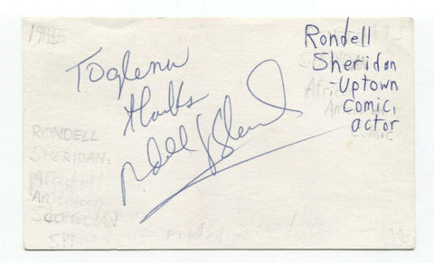 Rondell Sheridan Signed 3x5 Index Card Autograph Signature Actor