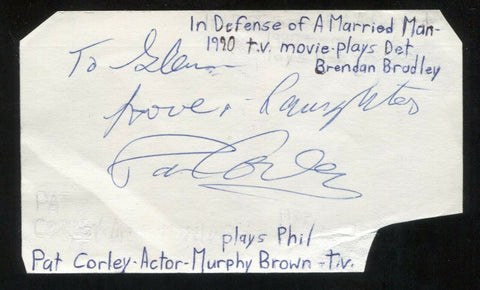 Pat Corley Signed Cut 3x5 Index Card Autographed Signature Actor