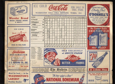 1953 Washington Senators vs Red Sox Baseball Program Scorecard May 30, 1953