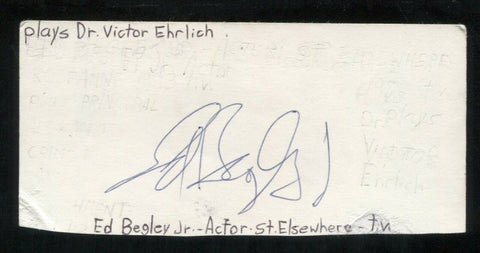Ed Begley Jr. Signed Cut 3x5 Index Card Autograph Signature Actor Batman