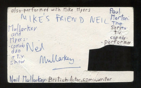 Neil Mullarkey Signed 3x5 Index Card Autograph Signature Actor Comedian