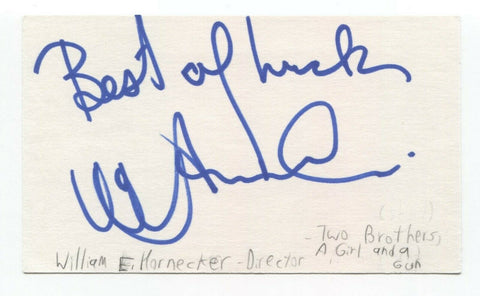 William E. Hornecker Signed 3x5 Index Card Autographed Signature Film Director