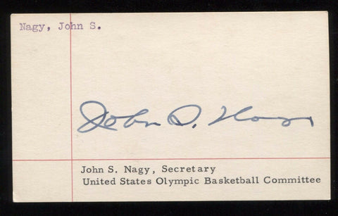 John Nagy Signed 3x5 Index Card Autograph Signature Olympic Committee Secretary