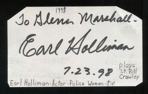 Earl Holliman Signed 3x5 Index Card Autographed Signature Actor Police Woman