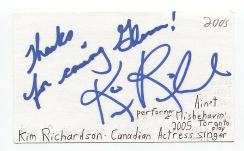 Kim Richardson Signed 3x5 Index Card Autographed Signature Actress Singer