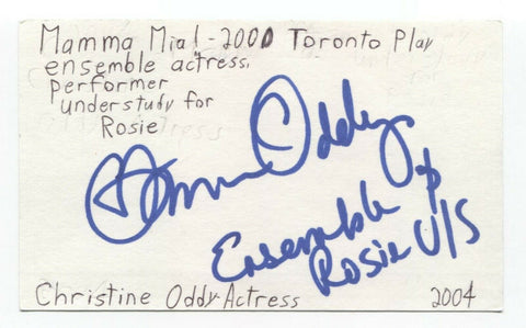 Christine Oddy Signed 3x5 Index Card Autographed Signature Actress Producer