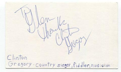 Clinton Gregory Signed 3x5 Index Card Autographed Signature Country Singer