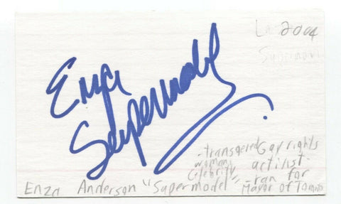 Enza Anderson Signed 3x5 Index Card Autographed Signature Activist