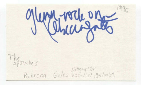 The Spinanes - Rebecca Gates Signed 3x5 Index Card Autographed Signature