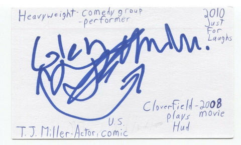 T.J. Miller Signed 3x5 Index Card Autographed Signature Deadpool Silicon Valley