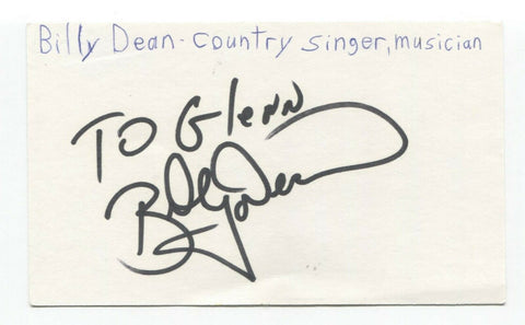 Billy Dean Signed 3x5 Index Card Autographed Signature Country Singer