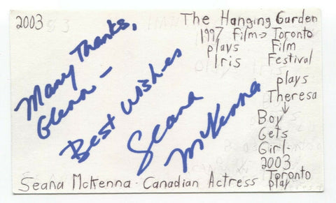 Seana McKenna Signed 3x5 Index Card Autographed Signature Actress