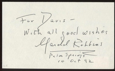 Harold Robbins Signed Index Card Signature Vintage Autographed AUTO