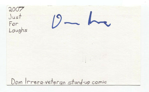 Dom Irrera Signed 3x5 Index Card Autograph Signature Actor Comedian