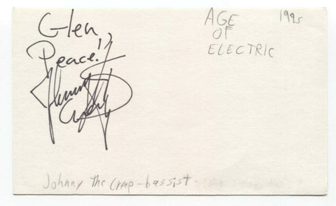 Age of Electric - John Kerns Signed 3x5 Index Card Autographed Johnny The Creep