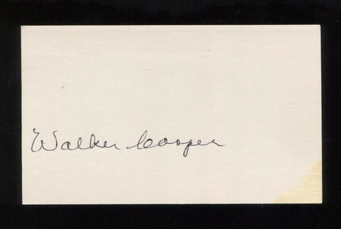 Walker Cooper Signed 3x5 Index Card Signature Autographed Baseball Player