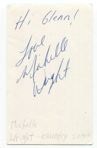 Michelle Wright Signed 3x5 Index Card Autographed Signature Country Singer