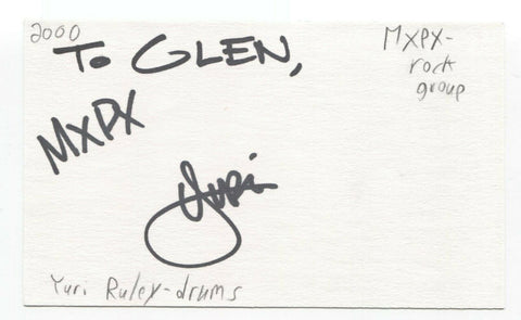 MxPx - Yuri Ruley Signed 3x5 Index Card Autographed Signature Band