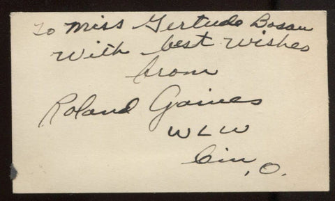 Roland Gaines Signed Card Yodeling Twins Autographed Authentic Signature