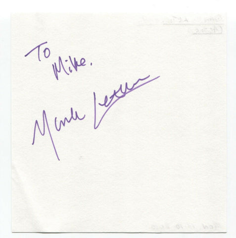 "Mark Letheren Signed Page Autographed Signature Inscribed ""To Mike"""