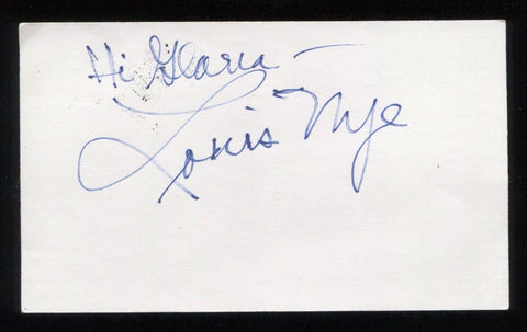 Louis Nye Signed 3x5 Index Card Inscribed Vintage Autographed Signature