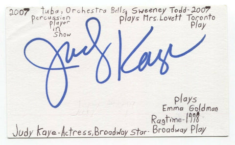 Judy Kaye Signed 3x5 Index Card Autographed Signature Actress
