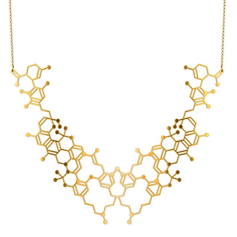 The Cannabinoid Molecule Necklace by Aroha Silhouettes