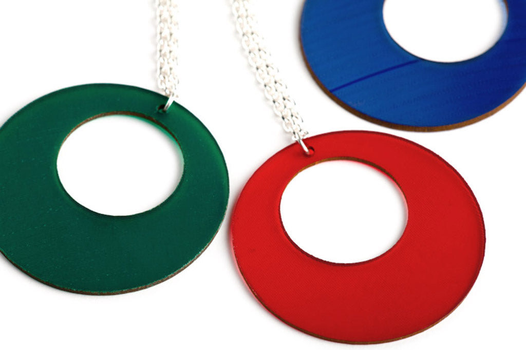 Coloured Vinyl Record Jewelry by Aroha Silhouettes