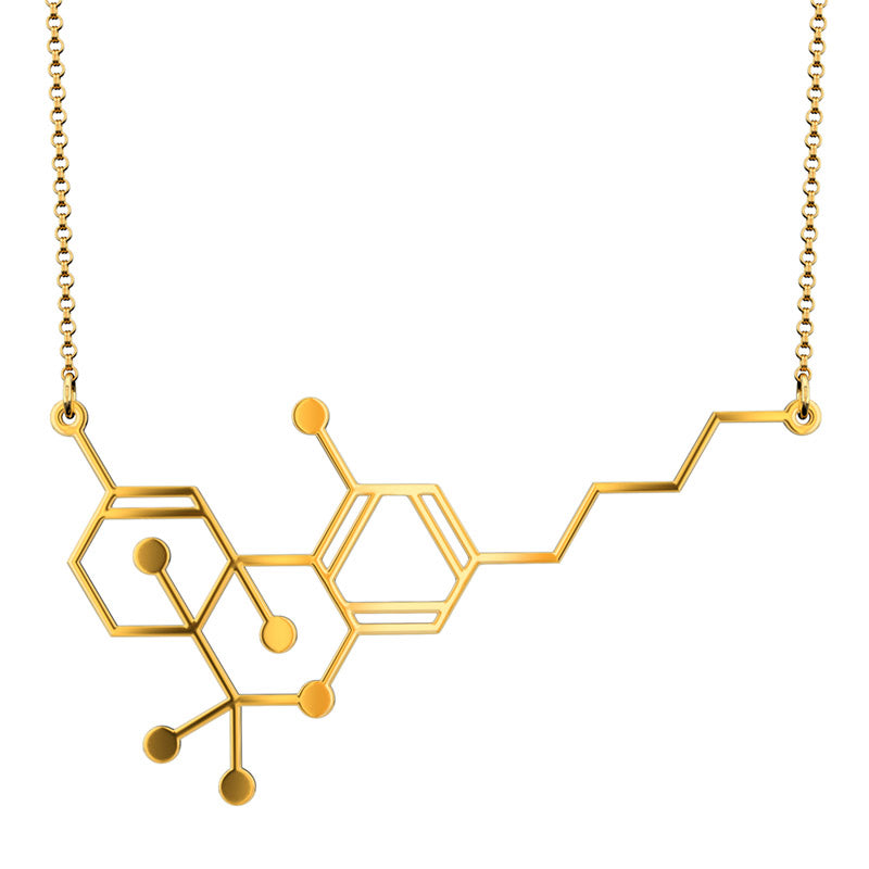Aroha Silhouettes gold THC Molecule Necklace