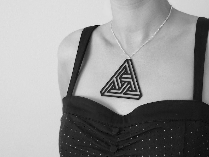 Optical Illusion Jewelry Made From Reclaimed Vinyl Records by Aroha Silhouettes