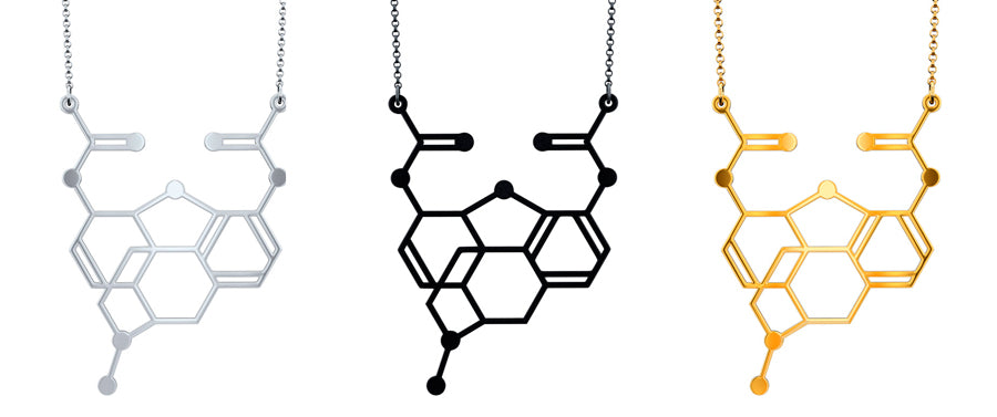 Heroin Molecule Necklace by Aroha Silhouettes