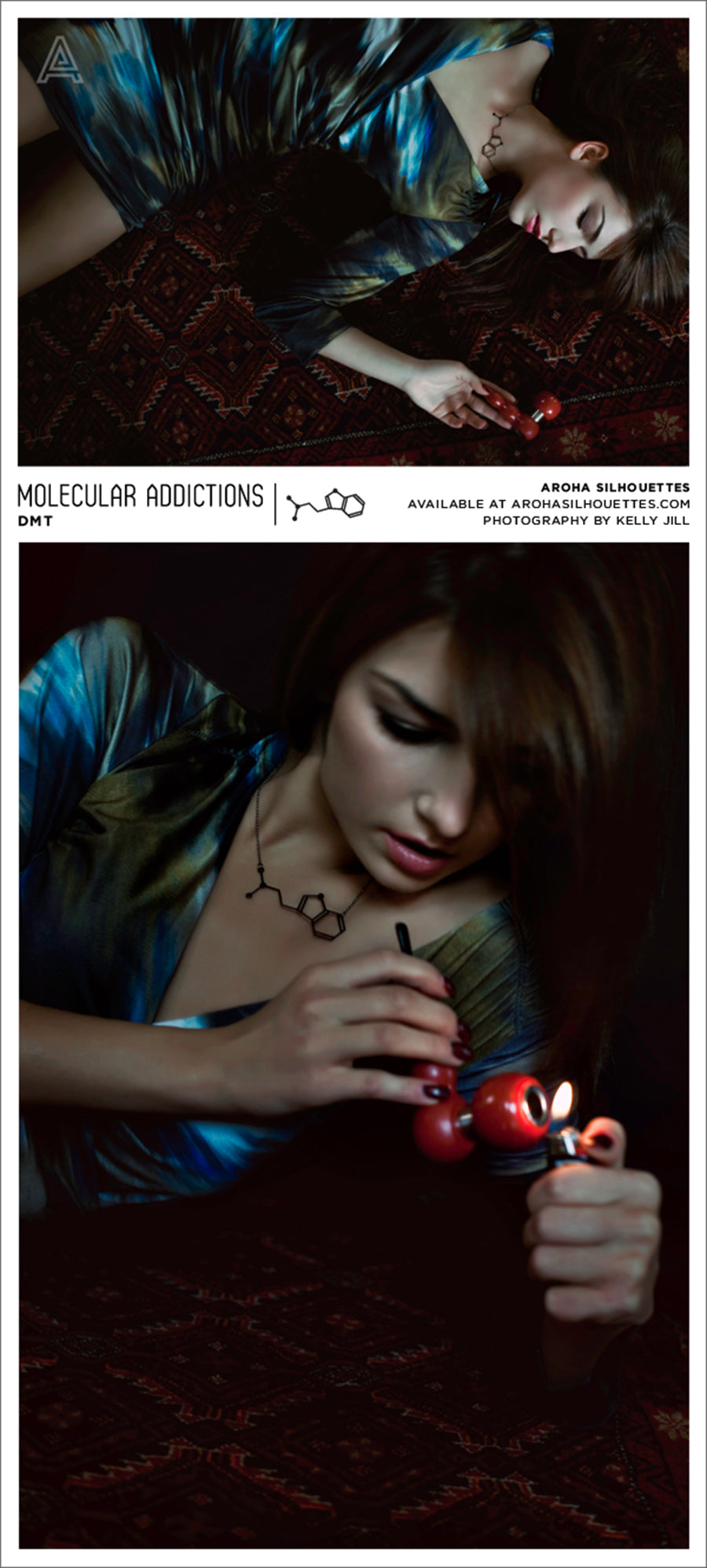 Molecular Addictions Collection by Aroha Silhouettes - DMT Molecule Necklace