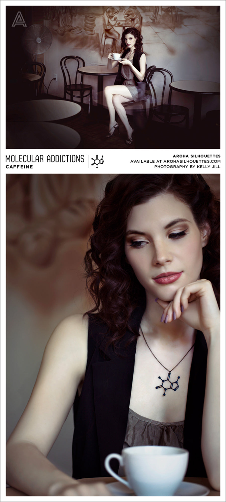 Molecular Addictions Collection by Aroha Silhouettes - Caffeine Molecule Necklace