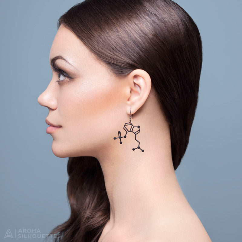 Psilocybin Mushrooms Molecule Earrings by Aroha Silhouettes
