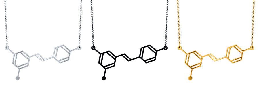 Resveratrol Molecule Necklace by Aroha Silhouettes