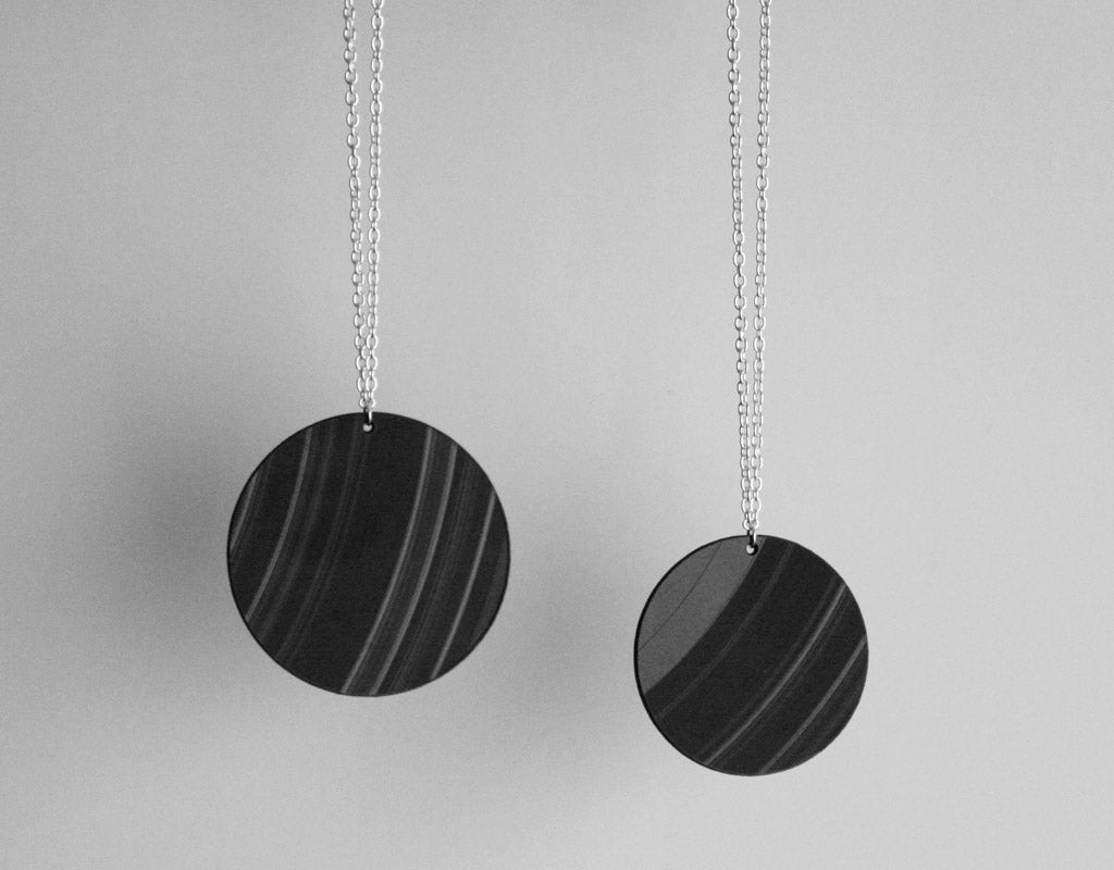 Full Moon Round Vinyl Record Necklaces by Aroha Silhouettes