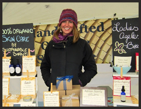 Emily even braved the freezing temperatures over the years at outdoor fairs | Em & El Organics