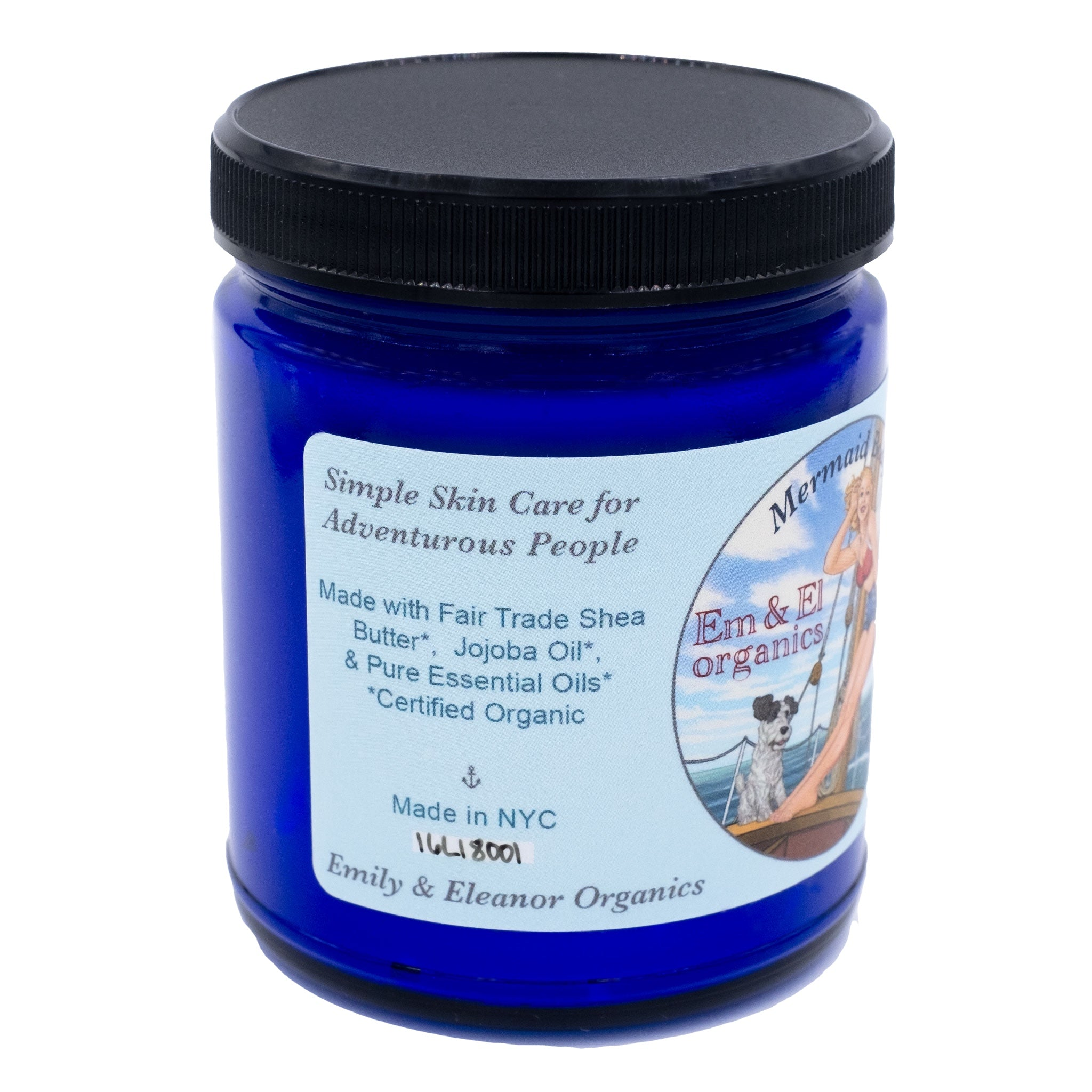 8 oz blue glass jar containing organic body butter with shea butter and jojoba oil and pure essential oils