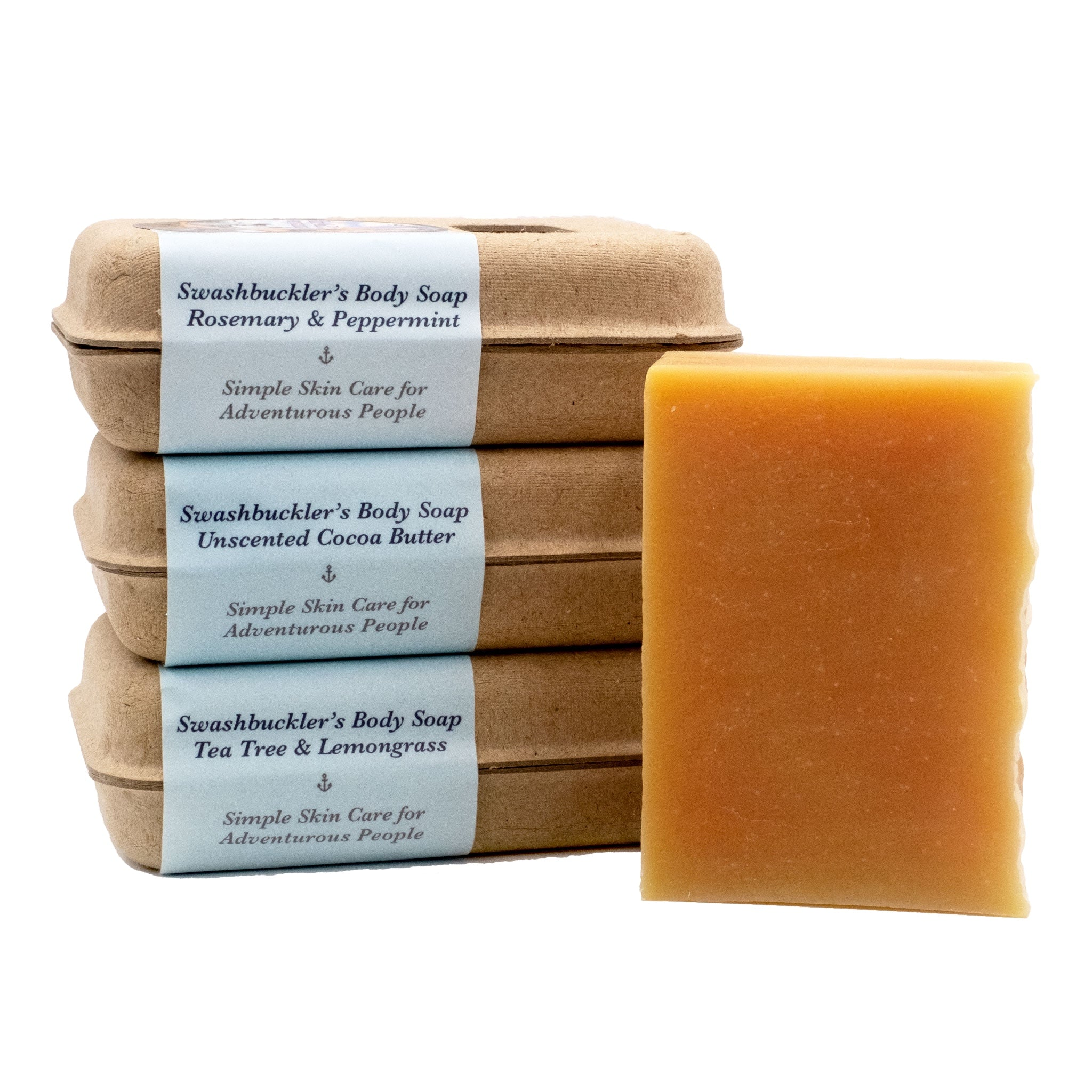 Bar of Organic Palm Oil Free Luxurious Body Soap in lavender-cedarwood, rosemary-peppermint, tea tree-lemongrass and unscented