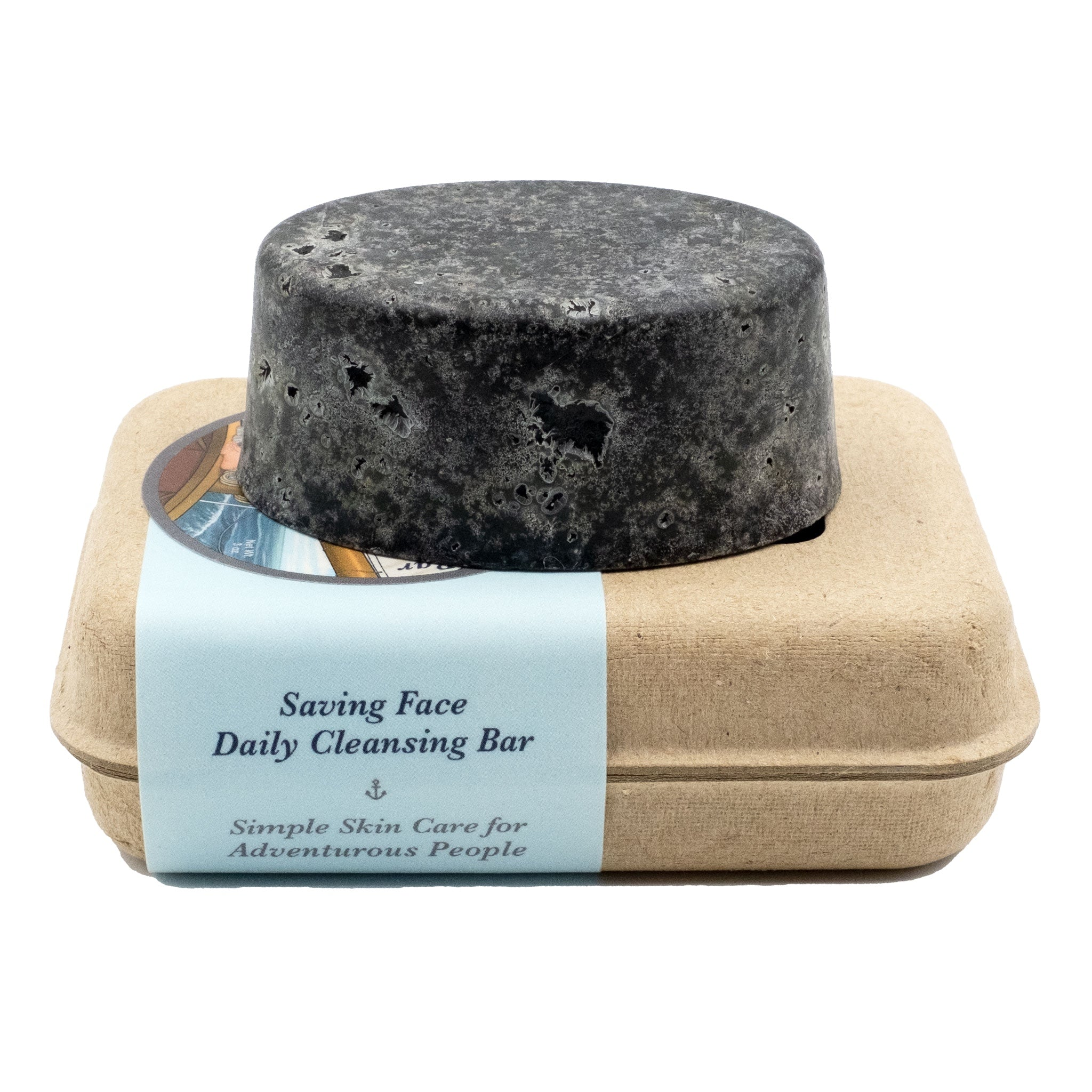 Handcrafted Organic Anti-Acne & Sensitive Skin Facial Charcoal Bar Soap Sitting on top of a box