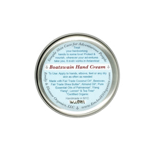 1.5 oz steel round tin of organic hand cream