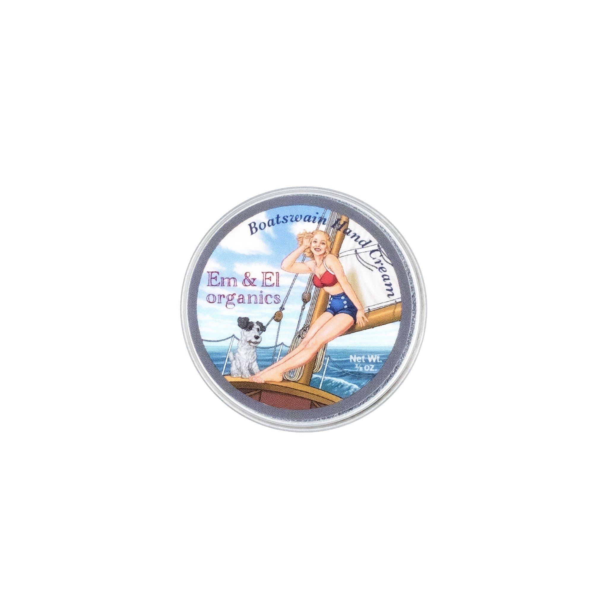 0.375 oz steel round tin of organic hand cream