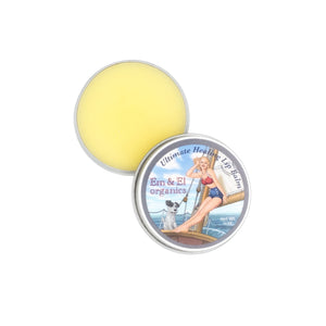 0.375 oz steel tin of organic healing lip balm for chapped lips, cracked skin and sunburns