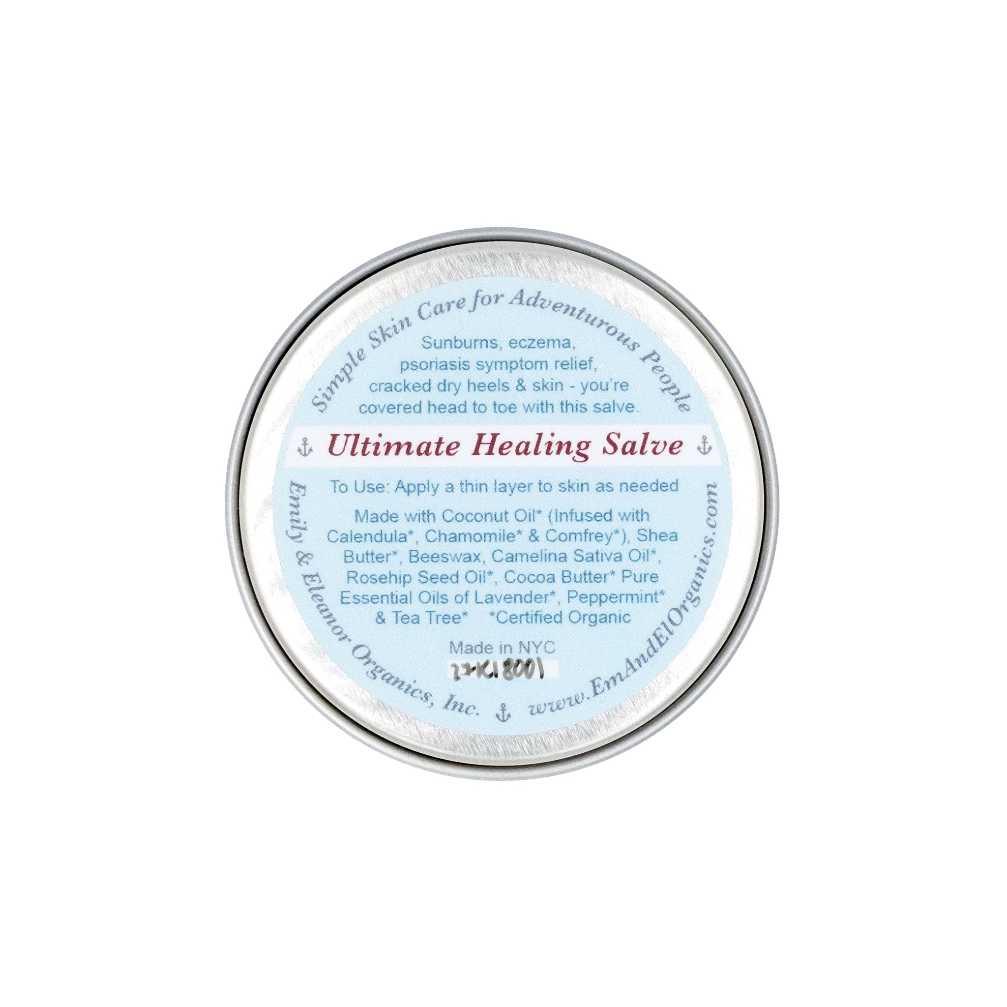 1.5 oz steel tin of organic healing salve for chapped lips, cracked skin and sunburns