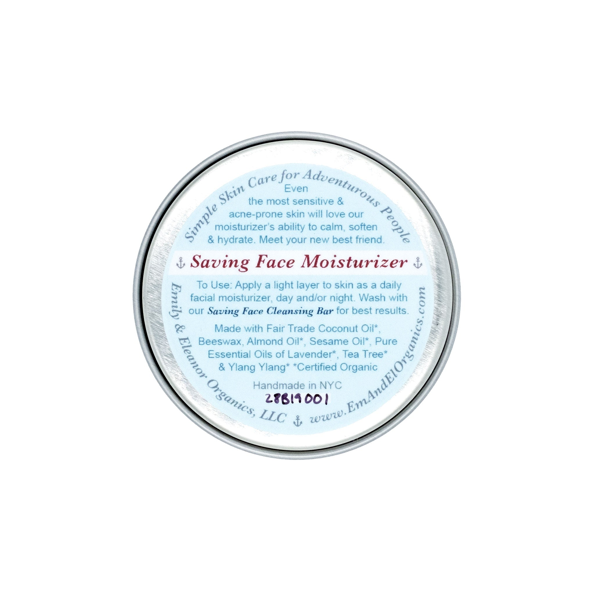 1.5 oz steel tin of Organic Anti-Acne & Sensitive Skin Face Moisturizer