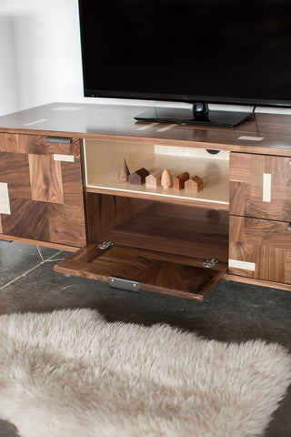 Patchwork Walnut Credenza w/ Fairmont Hairpin Feet and Maple accents