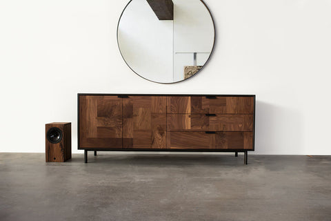 Modern Patchwork Walnut and Steel Credenza