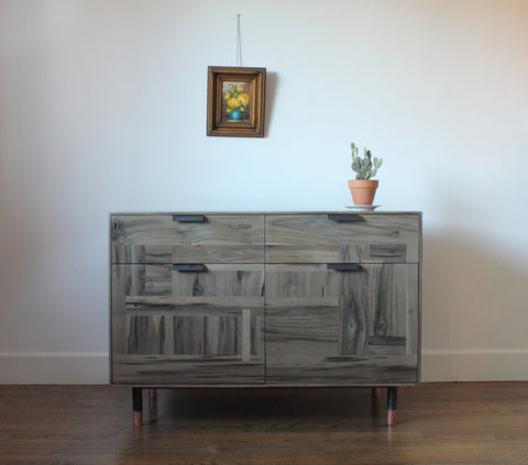 Patchwork Oxidized Maple Credenza - Wine Storage