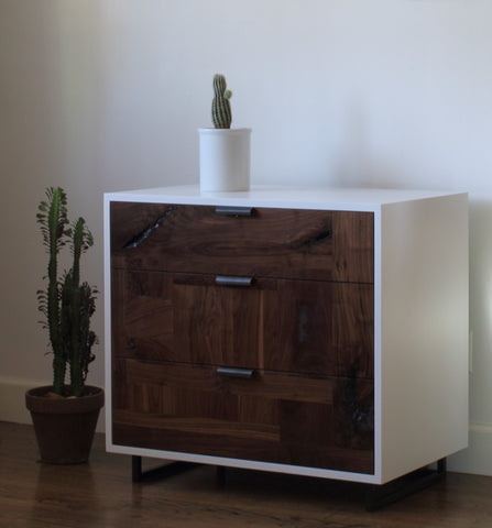 Patchwork Walnut Dresser/ Nightstand in White Lacquer Case