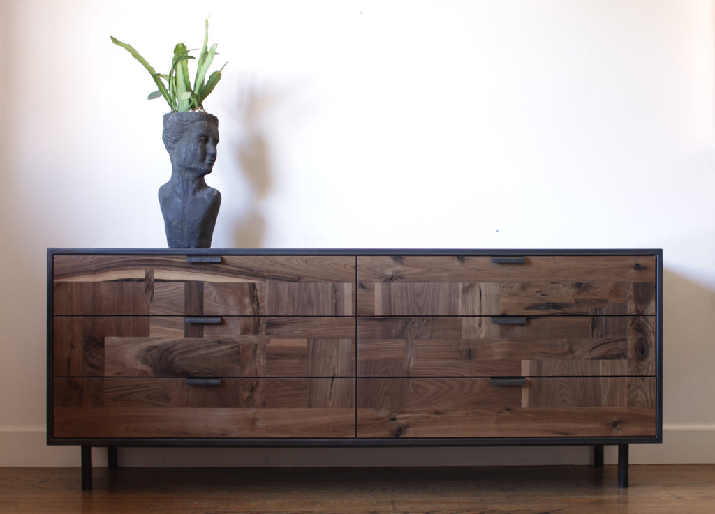 Patchwork Walnut Dresser in Blackened Steel Cabinet - kith&kin makers  - 1